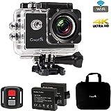 Caméra Sport 4K WiFi, CrazyFire 16MP Ultra HD Caméra d'Action Etanche 30M, 2 pouces LCD, Caméra de Sport Wi-Fi avec Télécommande et 2 Batteries 1050mAh et 17 Kits d'Accessoires