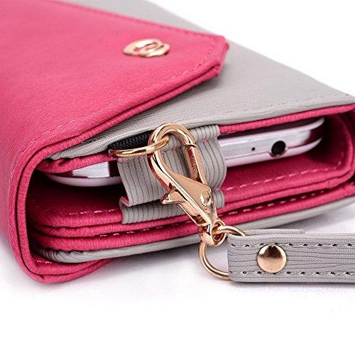 Kroo Link série universel sac à bandoulière avec rabat femme, compatible avec de nombreux 4à 5inch étui pour samsung/nokia/Prestigio/Sony/VIEWSONIC Cell Phone multicolore Hot pink Navy Blue Grey and Magenta