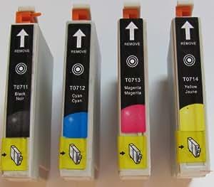 10 Cartouches d'encre Compatibles pour Imprimante Epson Stylus SX218 - Cyan / Magenta / Jaune / Noir- Avec Puce