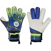 Football Goalkeeper Goalie GK Saver Champ 03 Blue Roll Finger Save Cut Goalie Gloves