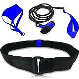 Cintura da Nuoto: per allenamento stazionario di resistenza o giri di piscina. Compreso la Paracaduta Trascinante con Cavo Elastico - per Adulti e Bambini (misura regolabile)