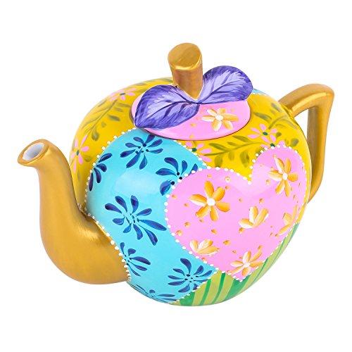 Artvigor, Porzellan Kaffeekanne, 1l Handbemalt Teekanne, Geschenk für Weihnachten, Geburtstag