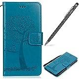WIWJ Moto G5 Hülle,Motorola G5 Leather Handyhülle, Handyhülle Wallet Case[Imprinted Baum und Eule Handyhülle] Flip Schutzhülle für Moto G5-Blau