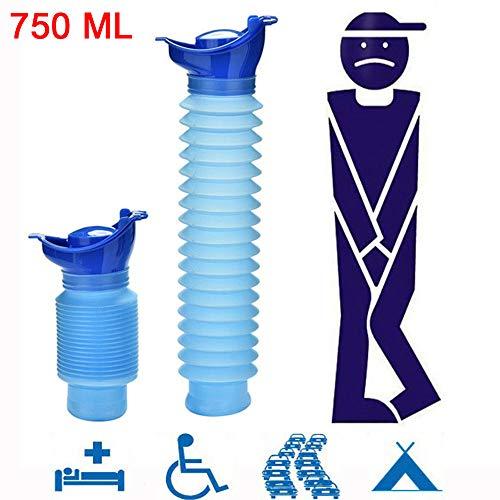 mxjeeio Notfall Urinal, Portable Mini Outdoor Camping Reisen Persönliche faltbare mobile Toilette Töpfchen Urinflasche für Kinder Erwachsene(750 ML)