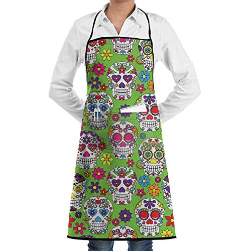 HiExotic Eco-Friendly Green Colorful Sugar Skull Apron with Pockets Locked for Cooking Baking Crafting Gardening BBQ (20.5 X 28.3 Inches)