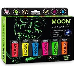 Moon Glow - Pintura facial y corporal que brilla en la oscuridad fosforescente Set de regalo - Incluye 6 tubos UV-Keyring, Pincel y Esponja.