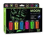 Moon Glow - Peinture phosphorescente visage & corps Ensemble cadeau - Comprend 6 tubes UV, porte-clés, pinceau et éponge