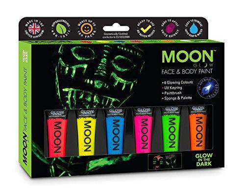 im Dunkeln Körpermalfarben Geschenkset - Beinhaltet 6 Röhren, UV-Schlüsselanhänger, Pinsel und Schwamm. Schwarzlicht fluoreszierende Schminke Bodypainting Neon Farben Leuchtfarben ()