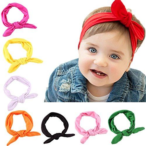 Cute Baby bowknot fasce per capelli turbante nodo Coniglio fascia per capelli bambini e bambine con un meassuring righello