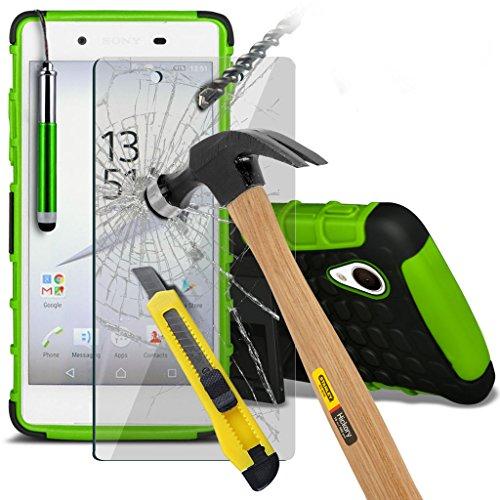 Étui pour Microsoft Lumia 950 Titulaire de téléphone Case voiture universel Mont Cradle Dashboard & pare-brise pour iPhone yi -Tronixs Shock proof +Glass (Green)