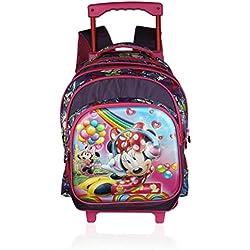 Disney School Trolley Bag For Boys & Girls 07+ Years Trolley Minnie 3D Effect 24 (L) Purple (At-0015)
