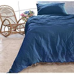 Leinen-Bettwäsche-Set Sintra 100% Leinen aus Portugal, Kissen 80x80cm und Bettbezug 135x200cm (blau, 135x200cm)