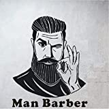 Luzhenyi Homme Barbershop Sticker Mural Barbu Homme Coiffure Boutique Salon Art...