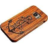 Forepin® Coque Couvert en Bois avec Sculpté Moitié Luxe Wood Housse étui Cover pour Samsung Galaxy S7 Edge