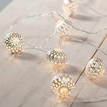 Guirnalda a pilas de 10 LED con orbes plateados estilo oriental de Lights4fun