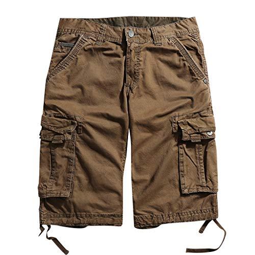 Xmiral Shorts Herren Einfarbig Cargohose Zipper-Taste Beiläufige Arbeitsplätze Hose Beiläufige Sports Training Party Freizeit(Kaffee,3XL) Playboy Shorts