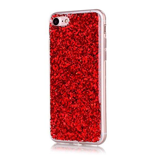 """iPhone 7 Handyhülle, iPhone 7 Liquid TPU Case, CLTPY Kreativ 3D Fließen Flüssig Bling Schwimmend Treibsand Herz, Glanz Shiny Kristallklar Schale Etui für 4.7"""" Apple iPhone 7 + 1 x Stift - Dunkelblau Red Pailletten"""