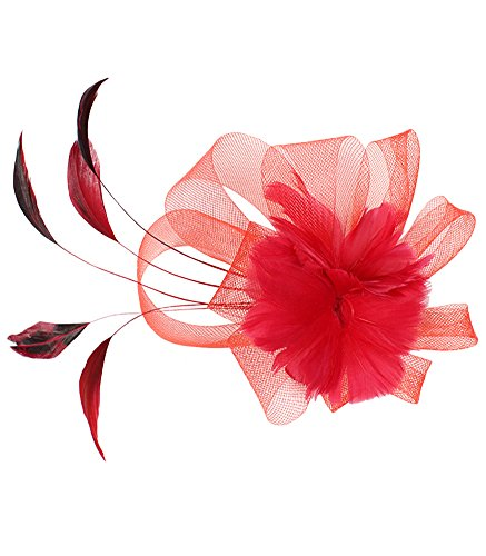 EXCHIC Damen Blumen Fascinator Haarclip Hochzeit Kopfschmuck (# Rot)