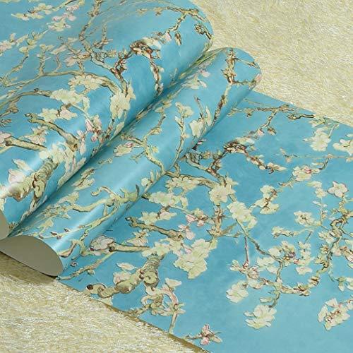 Zcxbhd Retro Amerikanisch Van Gogh Aprikosenblume Nicht Gewebt Tapete Luxus Aufkleber Zum Schlafzimmer Wohnzimmer Eingang TV Hintergrund Dekoration 10 M × 0,53 M/Rolle (Color : Blue)