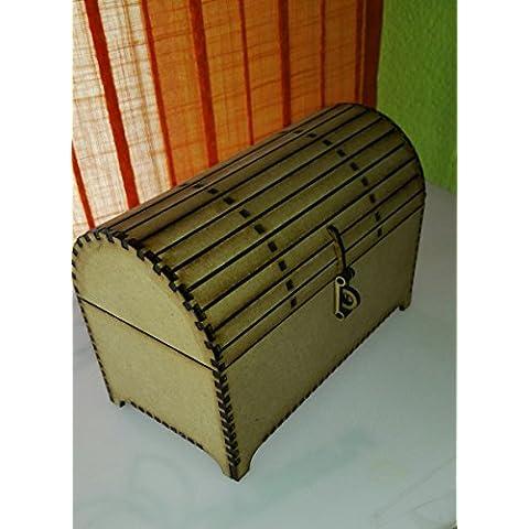 Manualidades con madera. Baúl de madera DM para pintar y decorar