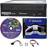 Pioneer 16x bdr-211ubk interne Ultra HD 4K Blu-ray BDXL Brenner in Retail Box, Paket mit 25GB Verbatim M-Disc-BD-R Cyberlink Burning Software und Kabel Zubehör