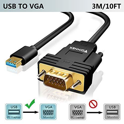 USB zu VGA Kabel 3M, FOINNEX USB 3.0 auf VGA Video Adapter Konverter für Windows 10/8.1/8/7 PC Laptop Surface Pro to Monitor Display,(Nicht unterstützt XP/Mac OS/Vista),Männlich zu Männlich,1080P
