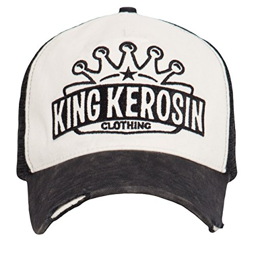 King Kerosin Trucker Mesh Cap Mit Logo-Schriftzug Herren Casual Abriebeffekte Stickerei Schnalle Snapback Cap