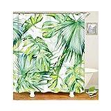 Knbob Anti-Schimmel Duschvorhang Grünes Bananenblatt Stil 3 Shower Curtain 150X180CM mit Haken Wohnaccessoires