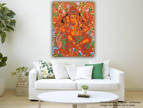 Canvas Painting - Sri Ganesha - Kerala Mural Painting  available at amazon for Rs.348
