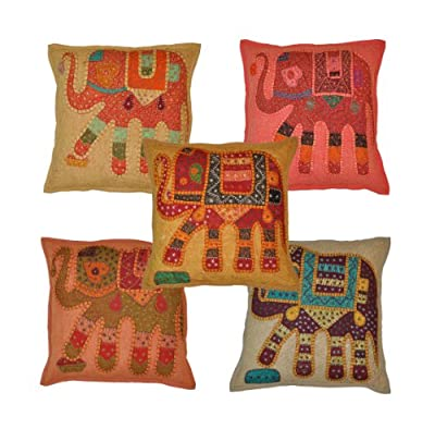 Marubhumi® Indian Handmade Traditional Elephant Cotton Cushion Cover Set of 5 pcs - low-cost UK light shop.
