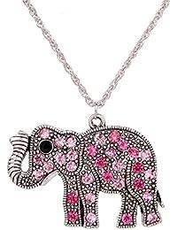 Yaizlind Collar pendiente de plata hecho a mano del cristal plateado del elefante rosado de la cadena para la Mujer