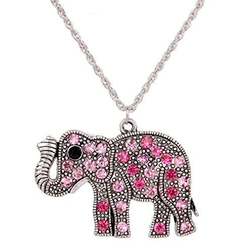 YAZILIND Yaizlind Collar pendiente de plata hecho a mano del cristal plateado del elefante rosado de la cadena para la Mujer