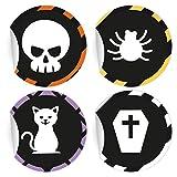 5 x 24 gruselige Halloween Aufkleber   Sticker mit Spinnen und Co, MATTE Papieraufkleber für Einladungen, Geschenke, Etiketten für Tischdeko, Pakete, Briefe und mehr (ø 45mm; 6 x 4 Motive)