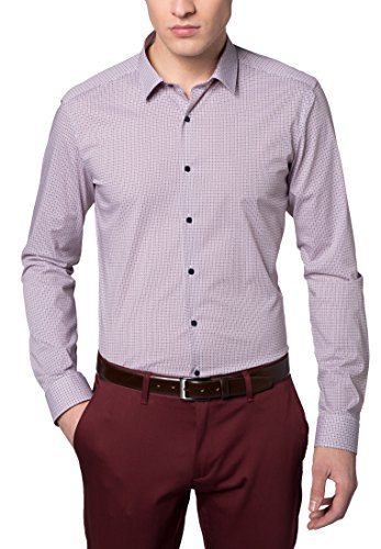 Eterna Long Sleeve Shirt Super-Slim Stretch Printed Blu/Rosso