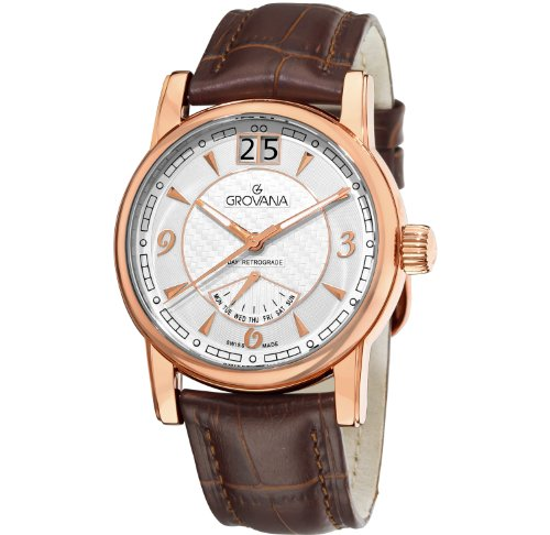 GROVANA 1721.1562 Men's Quartz Swiss Watch with Silver Dial Analogue Display and Brown Leather Strap