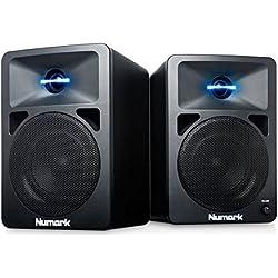 Numark N-Wave 360 - Enceintes de Monitoring DJ 60 W Haute-Fidélité et Compactes avec Tweeter à Éclairage LED, Bouton de Volume Dédié et Entrées RCA