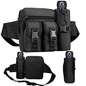 51zvNTZaIXL. SS300  - REDGO Tactical Waist Bag with Water Bottle Pouch, Waterproof Bum Bag Military Utility Canvas Fanny Pack Bumbag for Jogging Hiking Walking Bike Cycling Climbing Outdoor