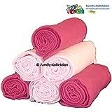 Muselinas pañales–paquete de 6Pañales muselina/escupir gamuza de colores–100% algodón–70x 80–(3x rojo y 3x rosa)
