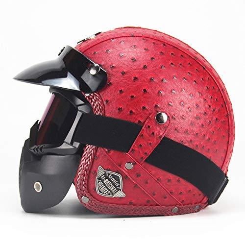 Retro Womens Motorrad Halbhelm-Rot, DOT Approved Open Face Elektro Fahrrad Chopper Cruiser Jet Bobber 3/4 Lederhelme,XL