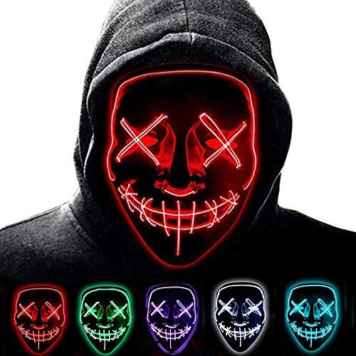 YARMASK Halloween LED Masken, Niedliche Lustige Maske Kostüm Maske, Schreckliche Kostüm Für Männer Frauen Halloween Cosplay Karneval Parteien Batterie (Nicht (Lustige Niedliche Kostüm Frauen)