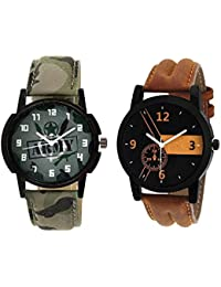 Xforia Boys Watch Army & Brown Leather Stylish Analog Watches For Men Pack Of 2