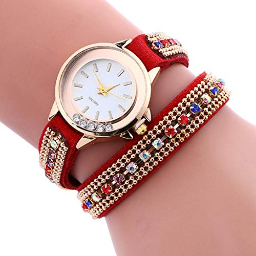 Voberry Fashion Woman Stylish Simplicity Chimes Leather Bracelet Quartz Wrist Watch Red