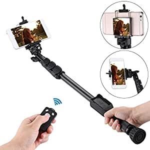 "J Yunteng Vct-388 Extendable Handheld Monopod Selfie Stick Pole With Removable Wireless Bluetooth Remote Shutter Controller Phone Clip 1/4"" Screw Carrying Bag For Sony Black"