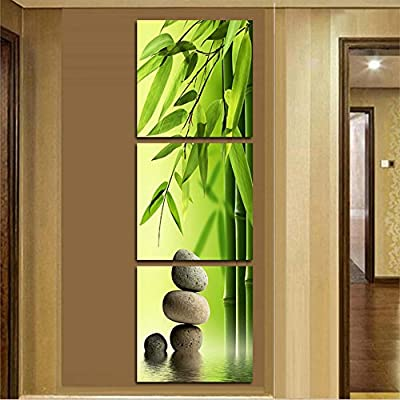 XrsArt 3 unids / set 121 artist canvas still life still life painting bamboo and vertical stone wall forms Canvas Pictures for imaging room (unframed) FCa603 48x16 inch - cheap UK light store.