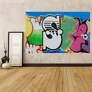 GWM21–Graffiti lettrage sur la rue Mural mur Photo Papier peint. Peler et coller papier peint auto-adhésif