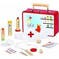 MEDICO 83529 , Große Arztkoffer mit viel Zubehör aus Holz , 13 Teile , Für Kinder ab 3 Jahren