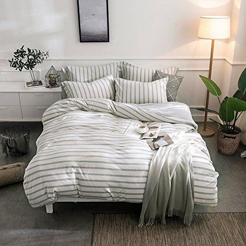 lausonhouse 100% Baumwolle Jersey Gewebe Bettbezug Set, baumwolle, Graue Streifen, King Size -