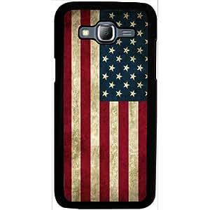 Casotec Vingate USA Flag Design 2D Hard Back Case Cover for Samsung Galaxy J5 - Black