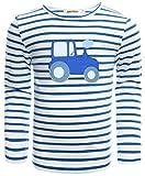 zoolaboo, Langarmshirt Jungen Traktor Tobi, gestreift in weiß/blau, Größe 92