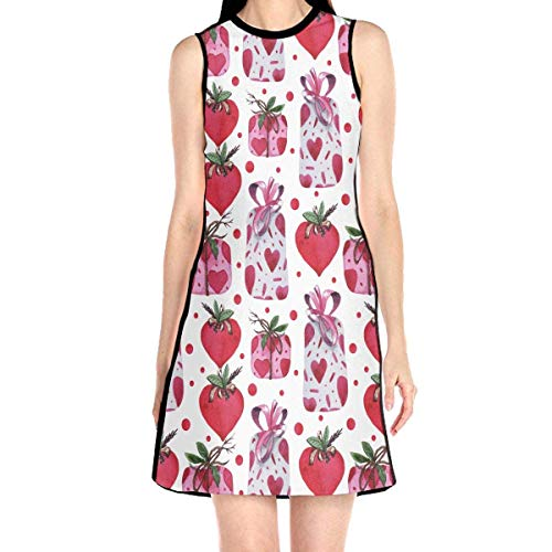 Acme&Real Gift Boxes Pattern Women's Sleeveless Dress Jumper Skirt Ladylike Crew Neck Dress Without Sleeve